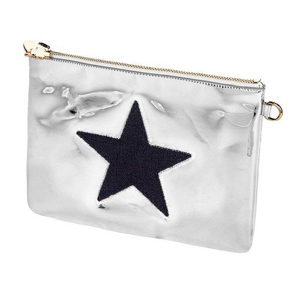 Stoney Clover Lane Silver Patent Star Clutch