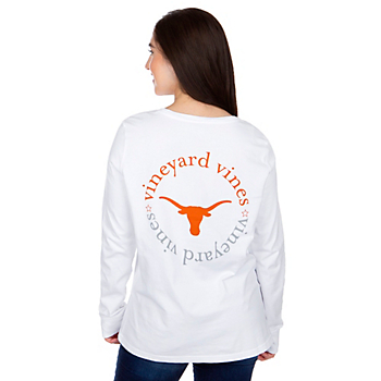 Texas Longhorns Vineyard Vines Womens Circle Text Long Sleeve T-Shirt