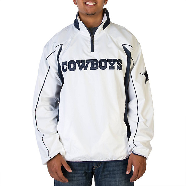Dallas Cowboys White Half Zip Pullover Jacket | Mens $5 | Mens ...