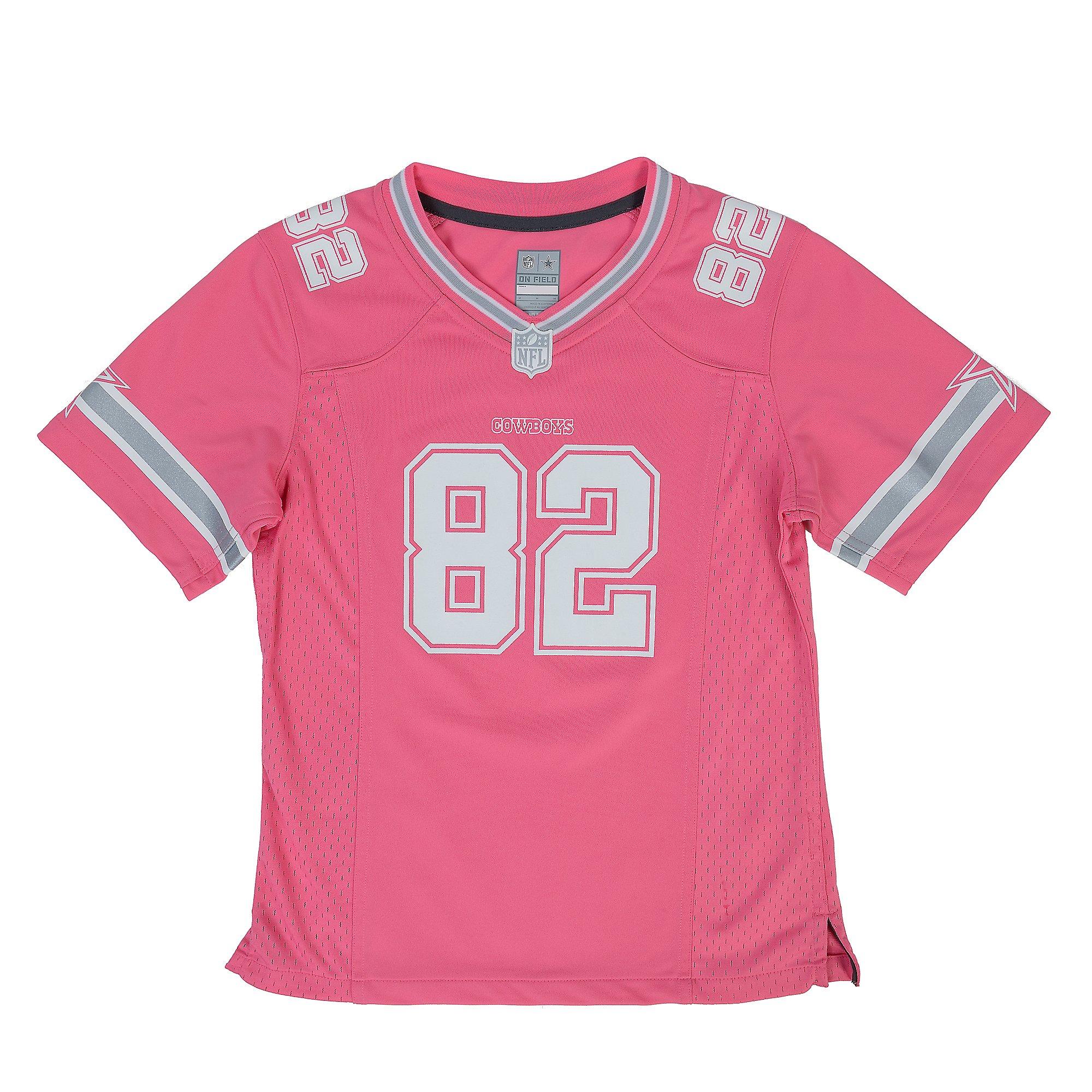 Dallas Cowboys Girls Jason Witten #82 Pink Game Replica Jersey ...