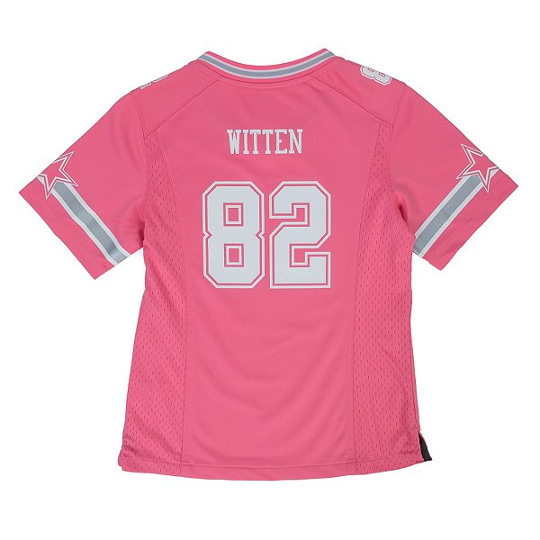 Dallas Cowboys Girls Jason Witten #82 Pink Game Replica Jersey