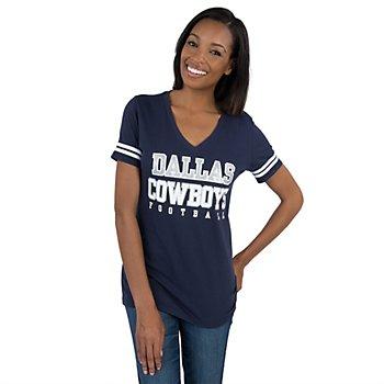 Dallas Cowboys Womens Glitter Practice Short Sleeve Tee