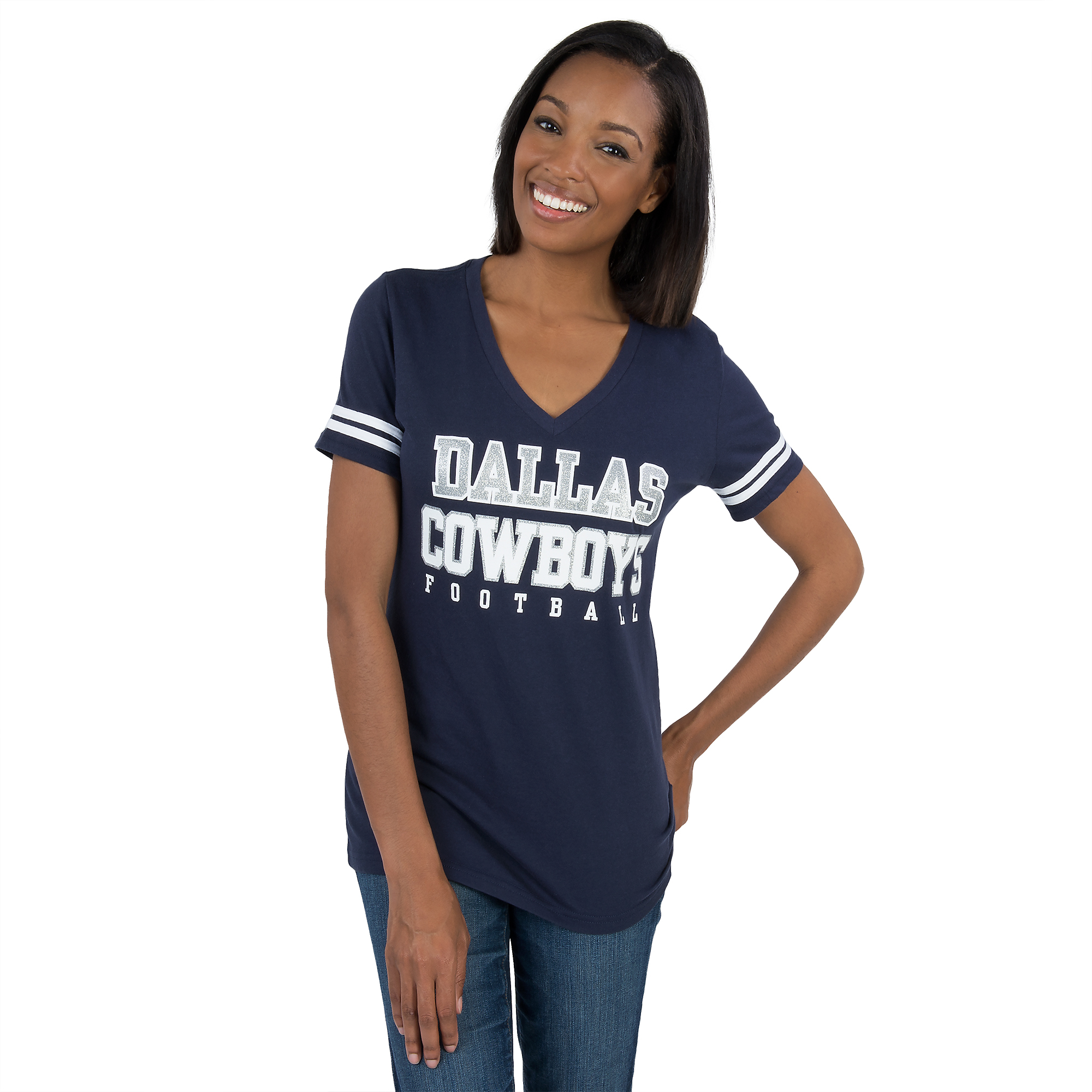 9567bb96 Dallas Cowboys Womens Glitter Practice Short Sleeve Tee   Fans United
