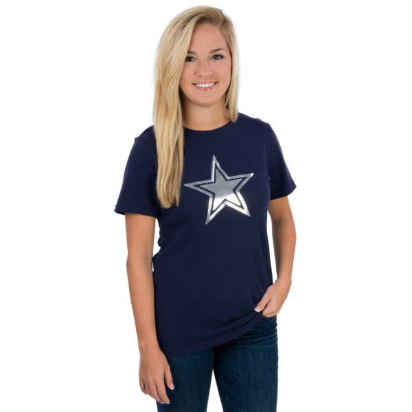 Dallas Cowboys Sparkle Star Crew Neck Tee