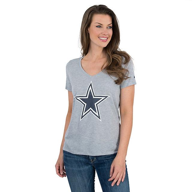 Dallas Cowboys Nike Womens Dri-Fit Logo Mid V-Neck Tee