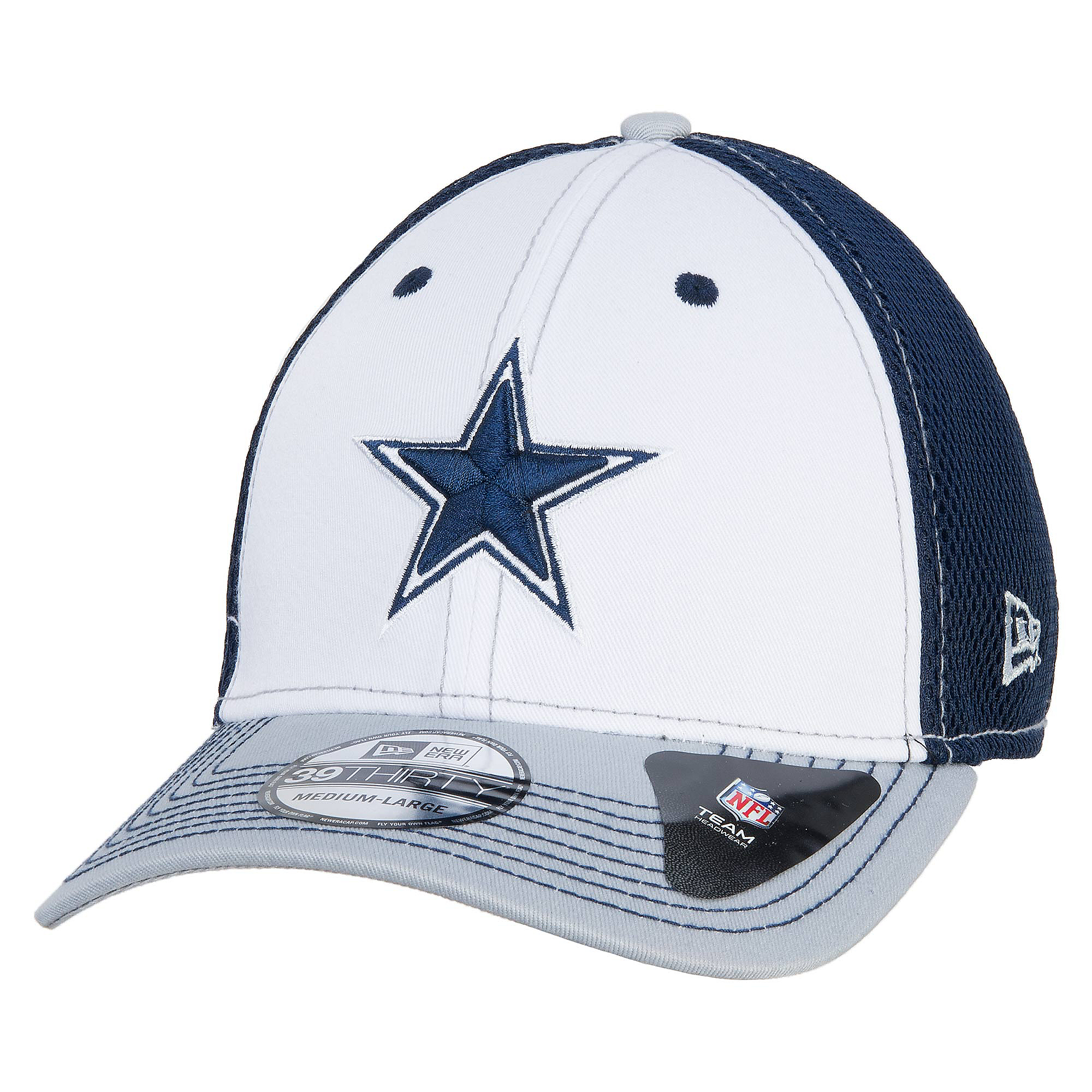 Dallas Cowboys New Era White Front Neo 39Thirty Cap