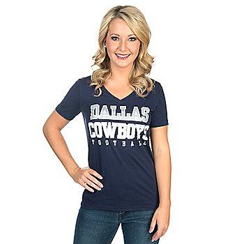 Dallas Cowboys Womens Practice Glitter Tee