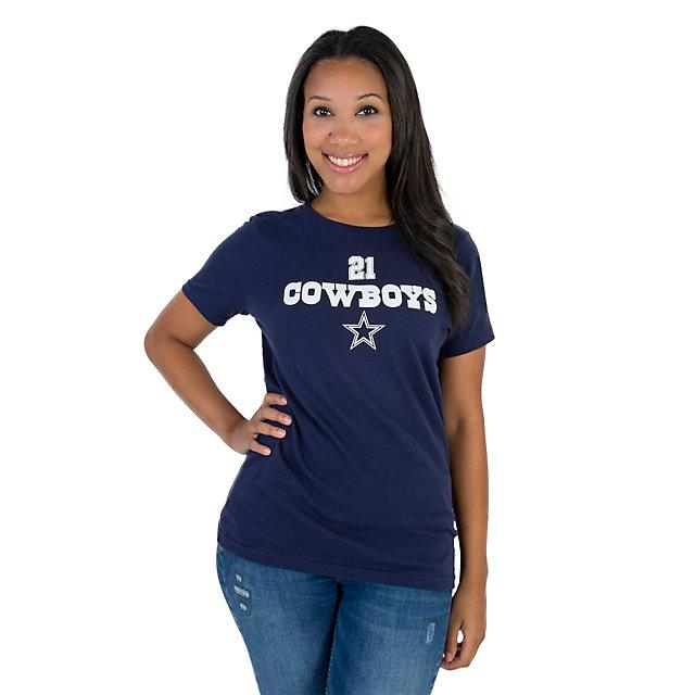 Dallas Cowboys Womens Walnut Ezekiel Elliott #21 Name and Number Tee
