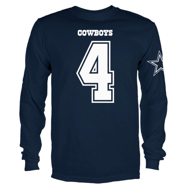 Dallas Cowboys Youth Dak Prescott #4 Long Sleeve Player Tee