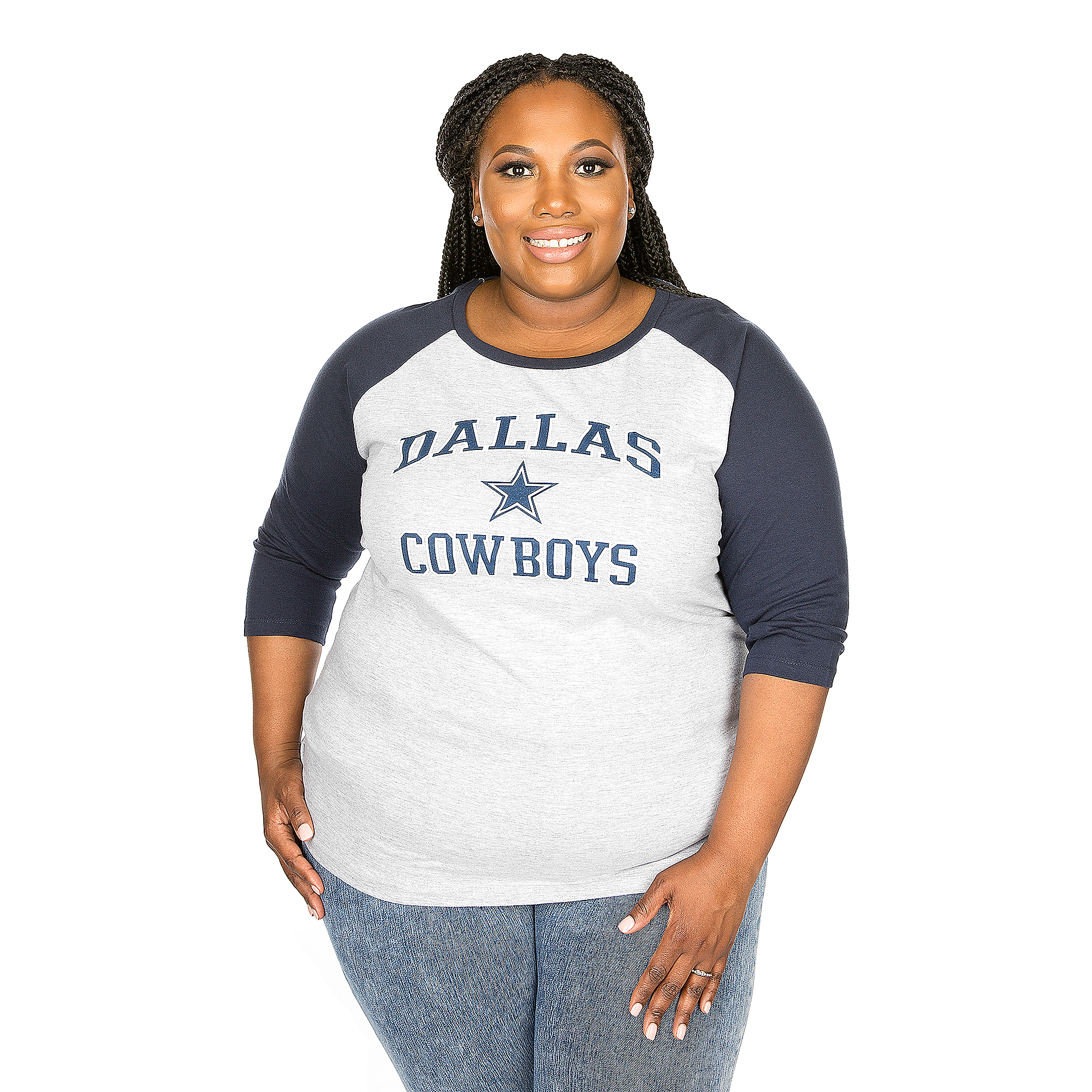 Dallas Cowboys Plus Size Screen Print ¾ Raglan Tee