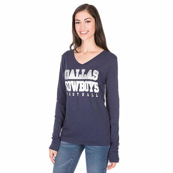 Dallas Cowboys Womens Practice Glitter Long Sleeve T-Shirt