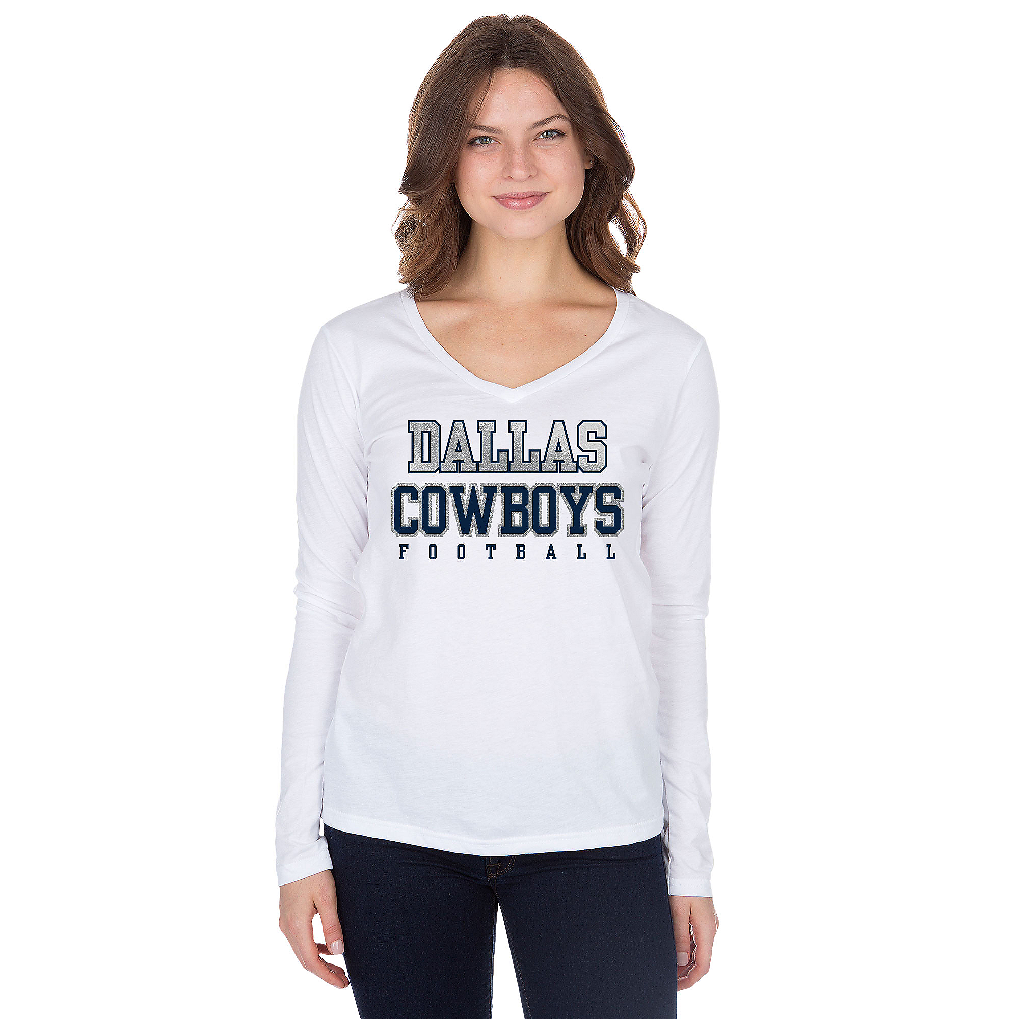 Dallas Cowboys Practice Glitter Long Sleeve T-Shirt