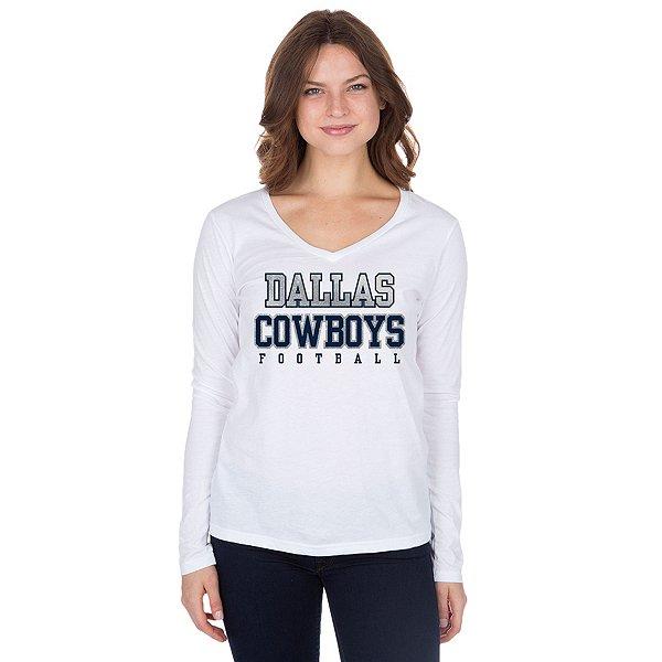 Dallas Cowboys Womens Practice Glitter Long Sleeve T-Shirt