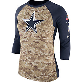 Dallas Cowboys Nike Womens Salute to Service Raglan Tee