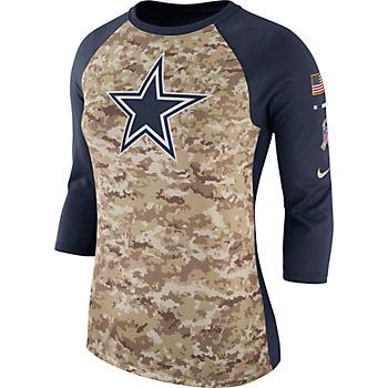 Dallas Cowboys Nike Womens Salute to Service Raglan T-Shirt