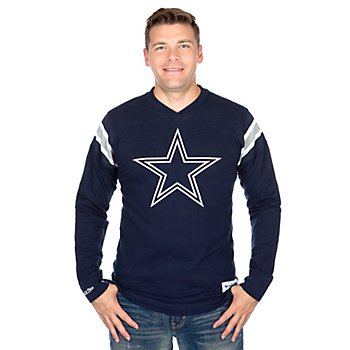 Dallas Cowboys Mitchell & Ness Team Captain V-Neck Long Sleeve Tee