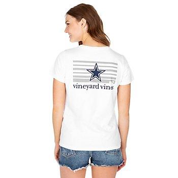 Dallas Cowboys Vineyard Vines Womens Stripe Logo Short Sleeve Tee