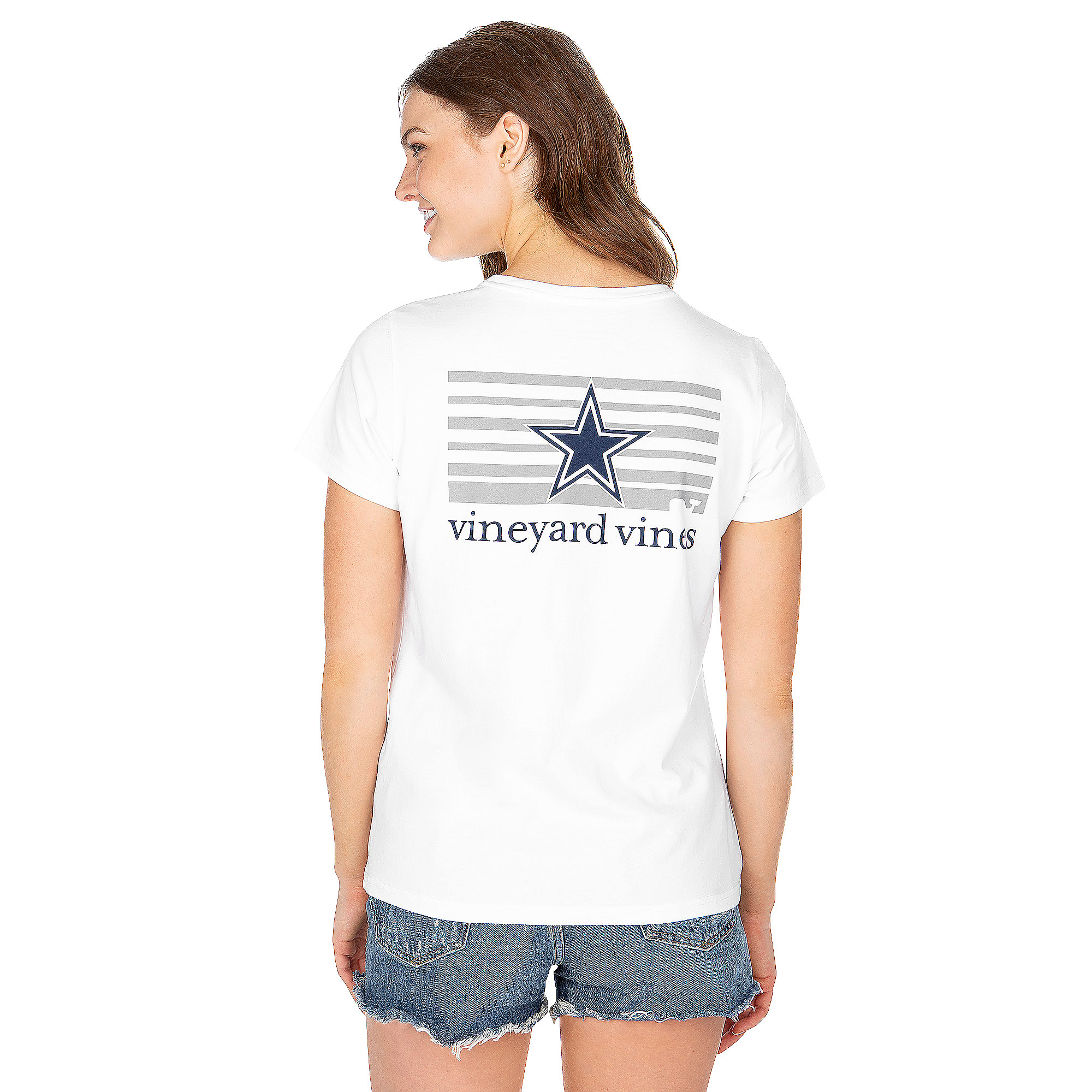 Dallas Cowboys Vineyard Vines Womens Stripe Logo Short Sleeve Tee