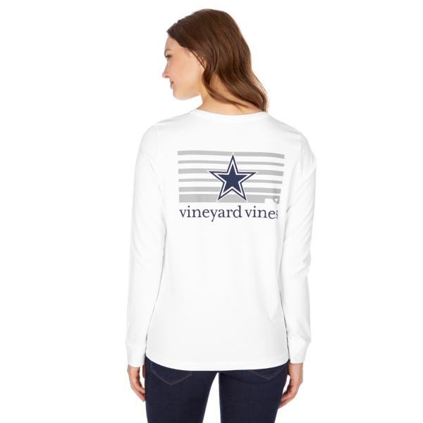 Dallas Cowboys Vineyard Vines Womens Stripe Logo Long Sleeve Tee