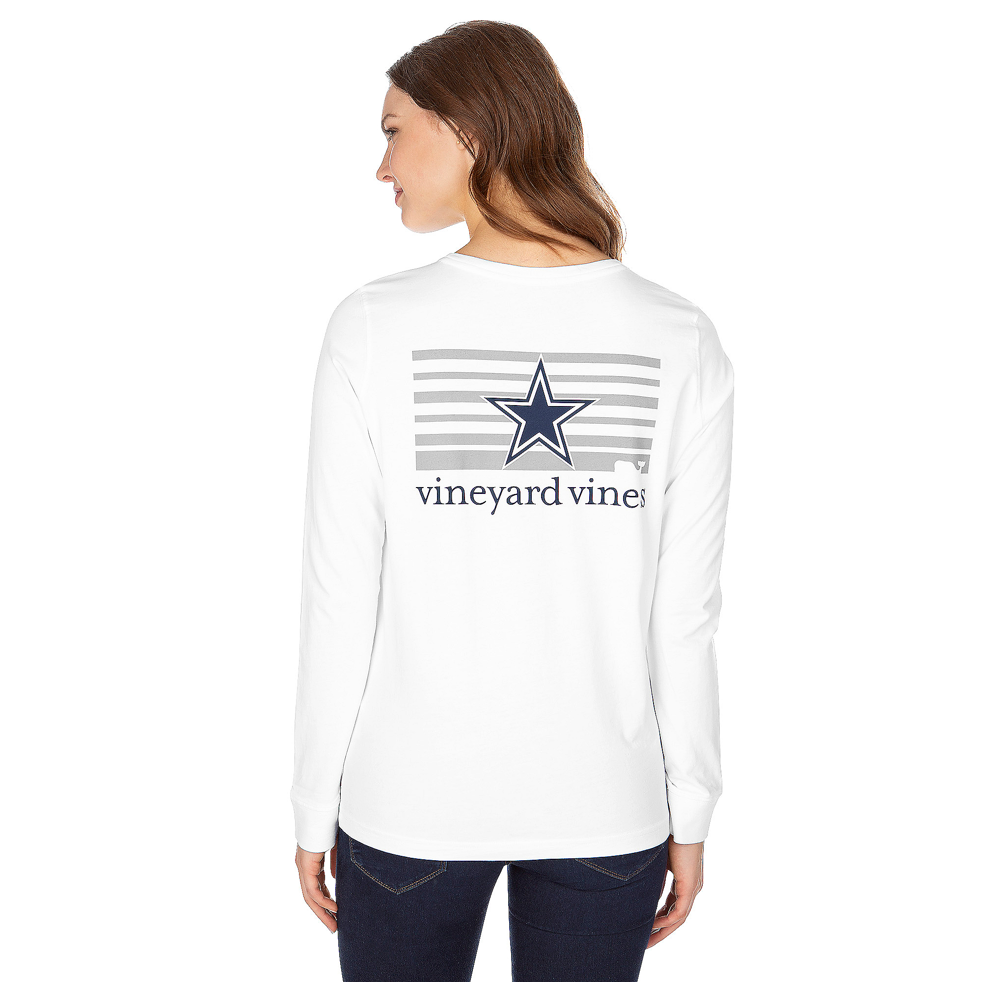 Dallas Cowboys Vineyard Vines Womens Stripe Logo Long Sleeve Tee