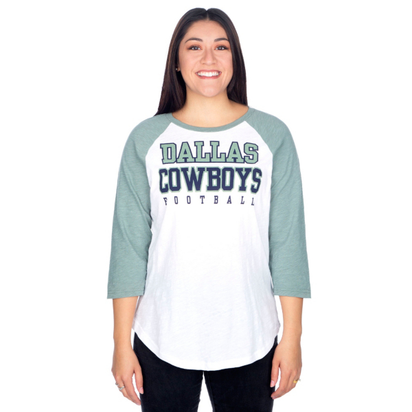 Dallas Cowboys Womens Practice Sage Raglan Tee