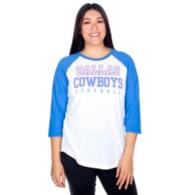 Dallas Cowboys Womens Practice True Blue Raglan Tee