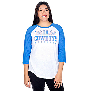 Dallas Cowboys Womens Practice True Blue Raglan Tee