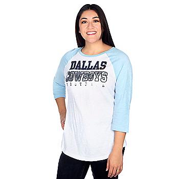 Dallas Cowboys Womens Practice Spring Blue Raglan Tee