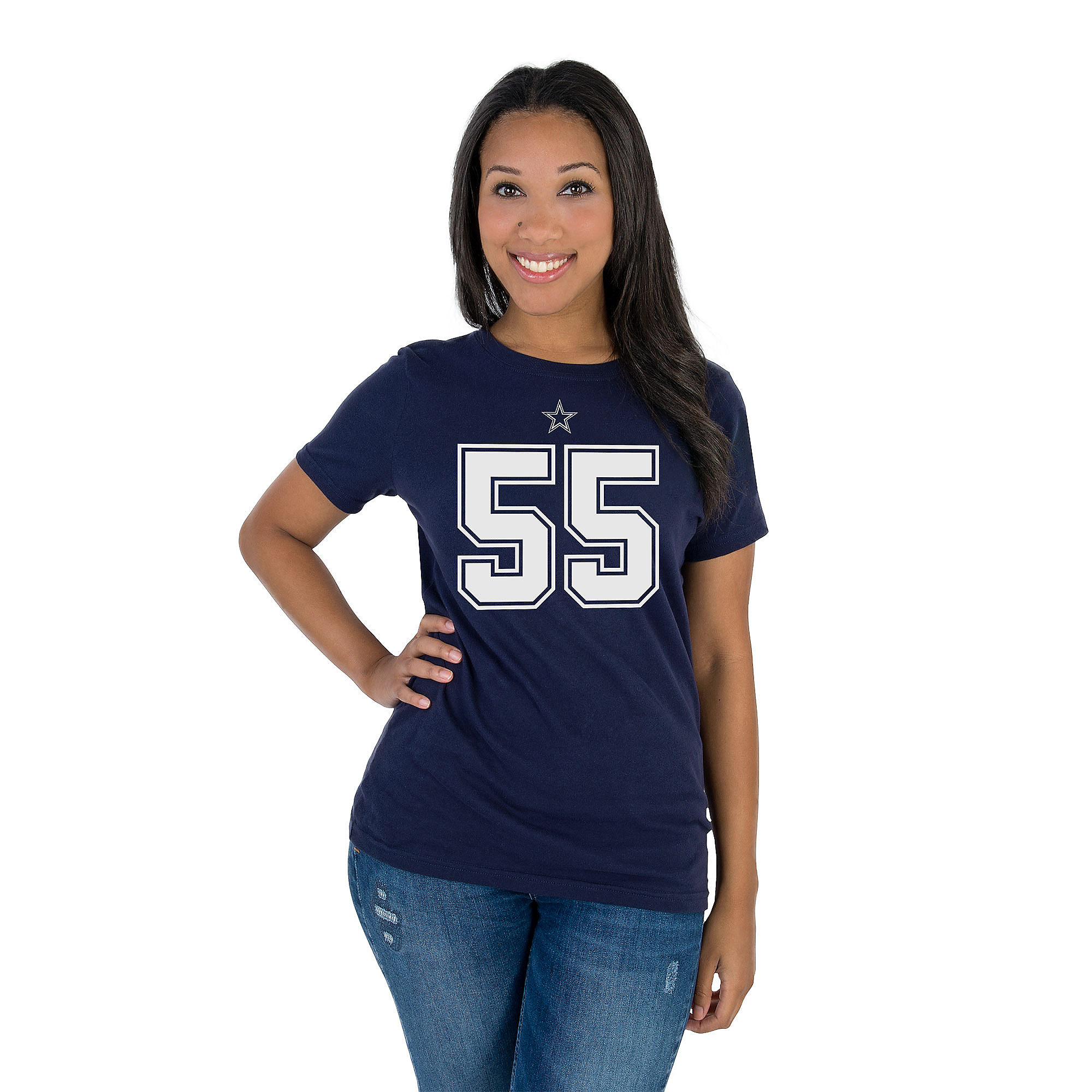 44abc8779 Dallas Cowboys Womens Leighton Vander Esch #55 Authentic Name & Number Tee