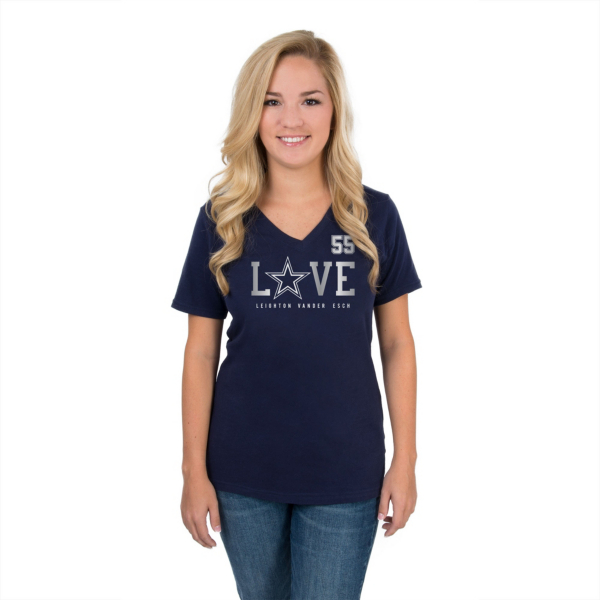 Dallas Cowboys Womens Leighton Vander Esch LVE Spells Love Tee