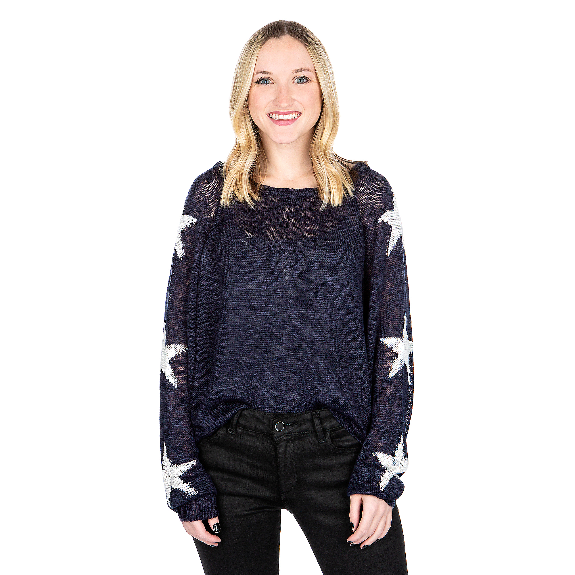 Studio Blank Paige Dark Navy White Star Sweater