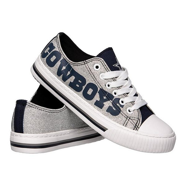Dallas Cowboys Women's Glitter Low Top Canvas Shoes