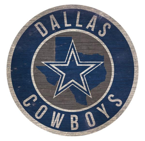 Dallas Cowboys Circle Wood Sign
