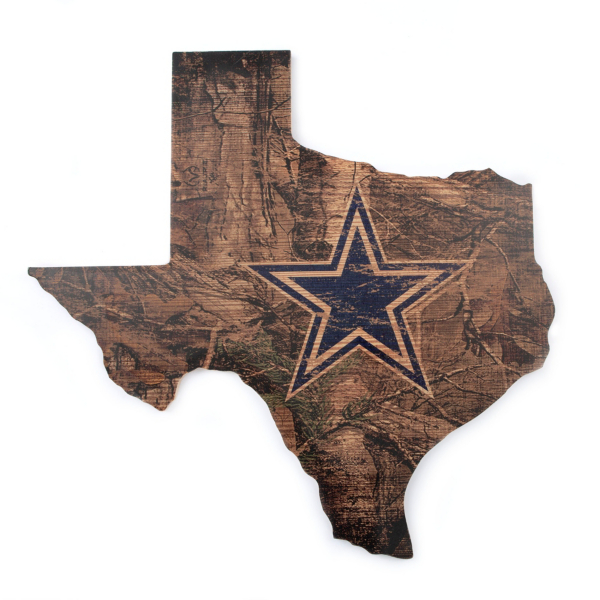 """Dallas Cowboys 24"""" Real Tree State Cut Out Sign"""
