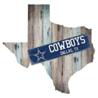 """Dallas Cowboys 24"""" Mixed Wood State Cut Out Sign"""