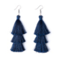 Studio Sheer Gear Navy Tassel Earrings