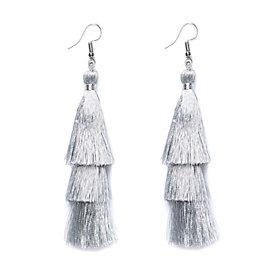 Studio Sheer Gear Silver Tassel Earrings