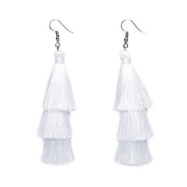 Studio Sheer Gear White Tassel Earrings