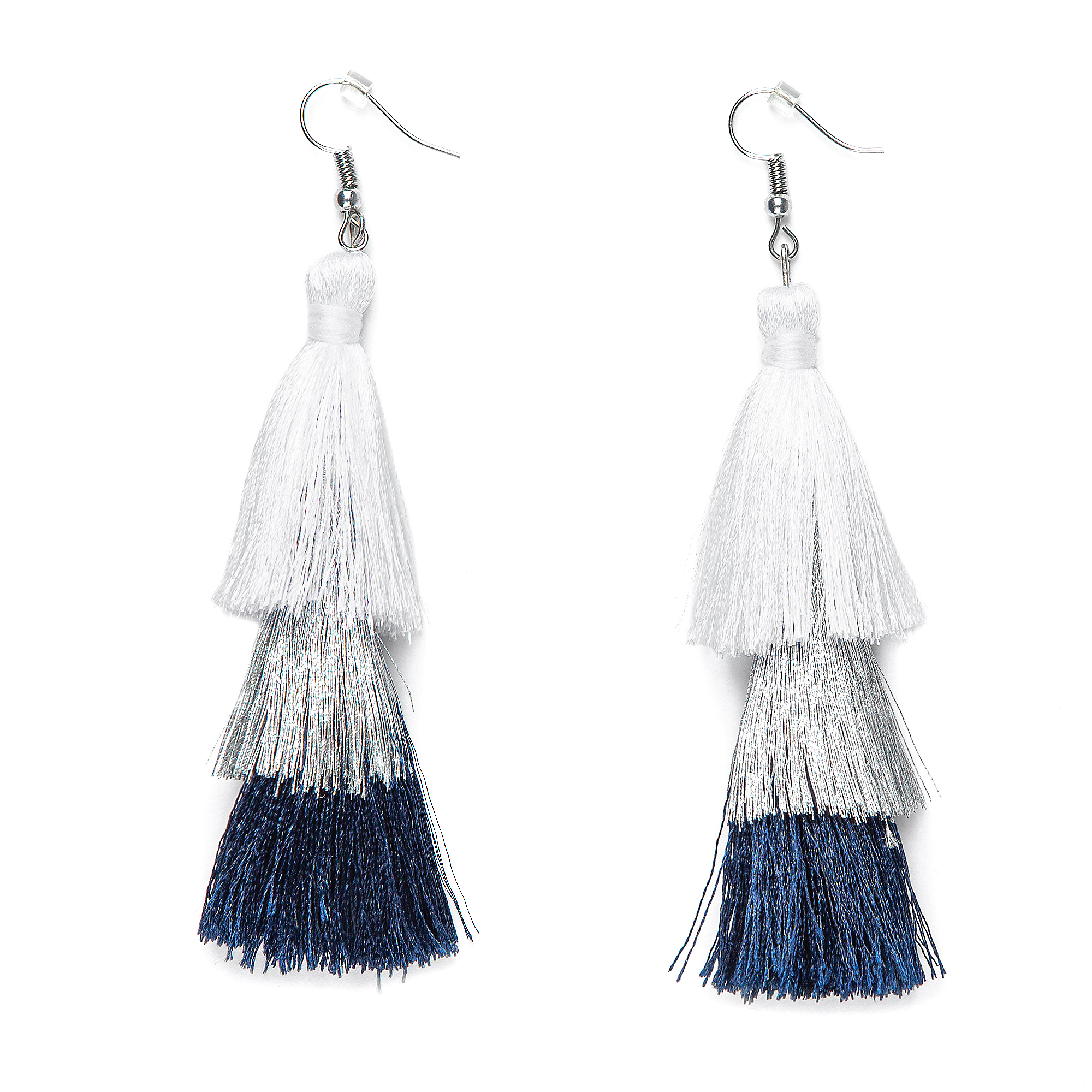 Studio Sheer Gear 3-Tier Tassel Earrings
