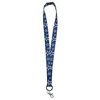 Dallas Cowboys Emblem Ring Soft Ribbon Navy Lanyard