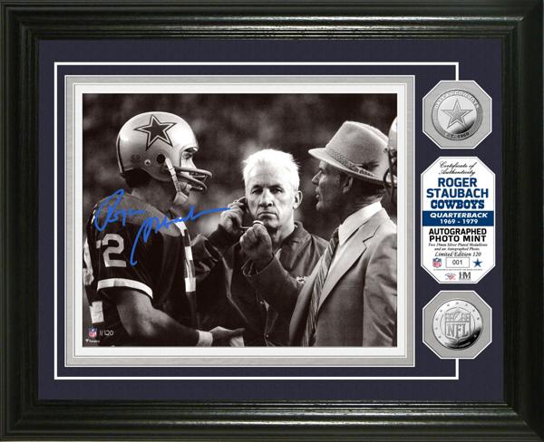 Dallas Cowboys 8x10 Roger Staubach Autographed Photo Mint Frame