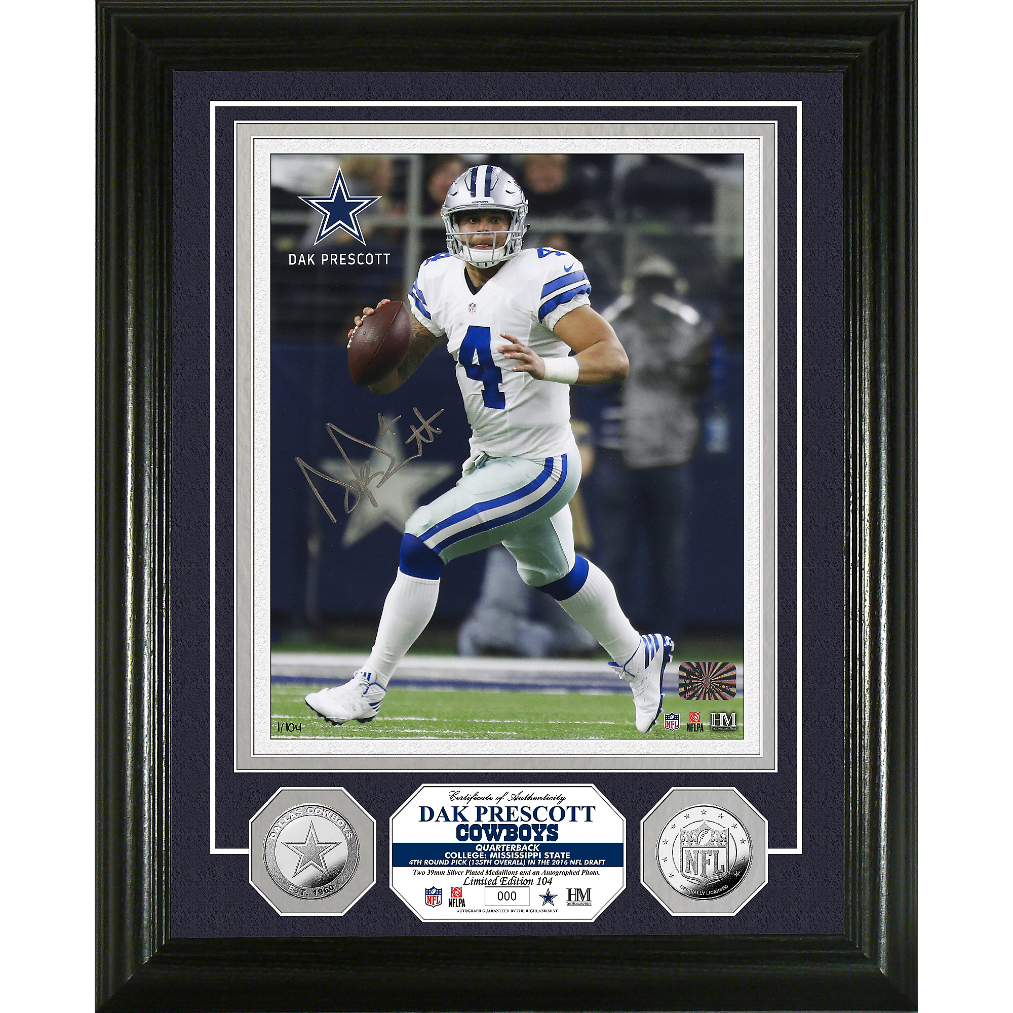 Dallas Cowboys Dak Prescott 8x10 Autographed Photo Mint