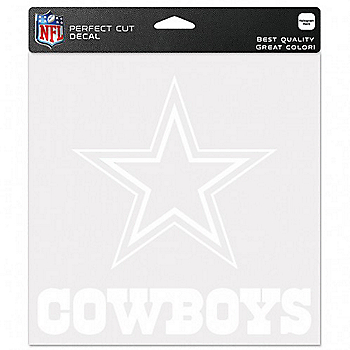 Dallas Cowboys 8x8 Perfect Cut White Decal