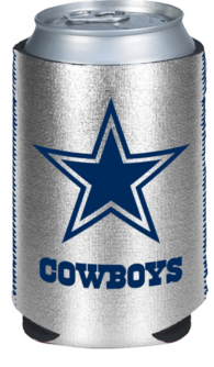 Dallas Cowboys Metallic Silver Can Coolie