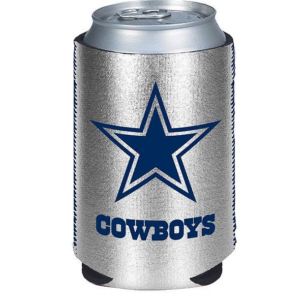 Dallas Cowboys Metallic Silver Can Cooler