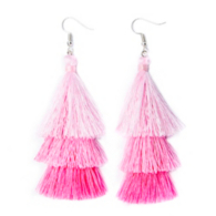 Studio Sheer Gear Pink 3-Tier Tassel Earrings