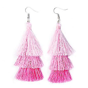 Studio Sheer Gear Pink 3-Tier Tassel Earrings