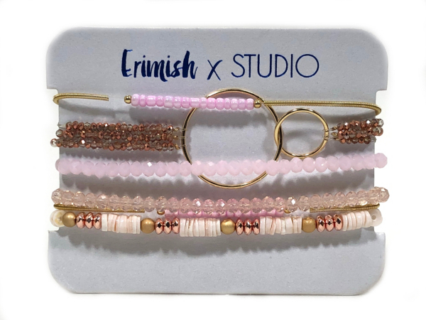 Studio Erimish Pink Rose Gold Bracelet Set