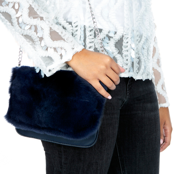 Studio Bari Lynn Navy Fur Clutch