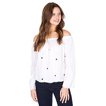 Bella Dahl Star Frayed Off the Shoulder Top